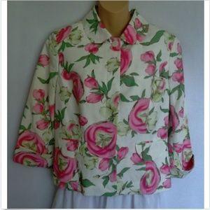 Ann Taylor Loft Dress Jacket Floral Linen Blend
